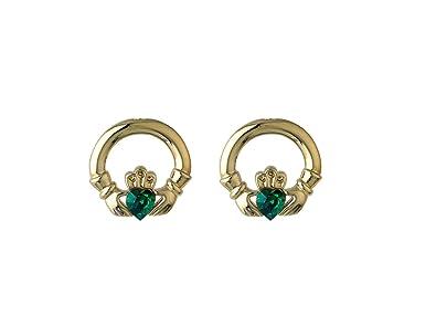 2038ea7b6 Amazon.com: Claddagh Earrings Gold Plated Studs & Green Enamel Irish ...