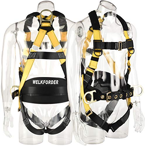 WELKFORDER 3D-Rings Industrial Fall Protection Safety Harness With Waist Tounge Buckle | Leg Pass-Through Buckle | Waist & Shoulder Pad Support ANSI Compliant Full Body Personal Protection Equipment