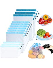 PrettyCare Reusable Produce Bags 12 Pack (Lightweight, See-Through) Double-Stitched Strength Mesh Vegetable Bags with Tare Weight on Tags for Shopping & Storage of Fruit, Veggies, Grocery, Toys