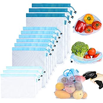 Reusable Mesh/Produce Bags (Lightweight, See-Through by PrettyCare) 12 Pack Double-Stitched Strength Grocery Bags with Tare Weight on Tags for ...