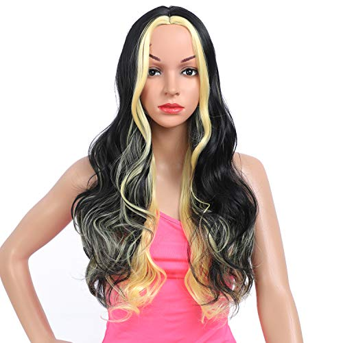 Amchoice Long Black Brown Honey Wavy Wig with Highlights for Women Cosplay Synthetic Wigs Heat Resistant Middle Part Wigs