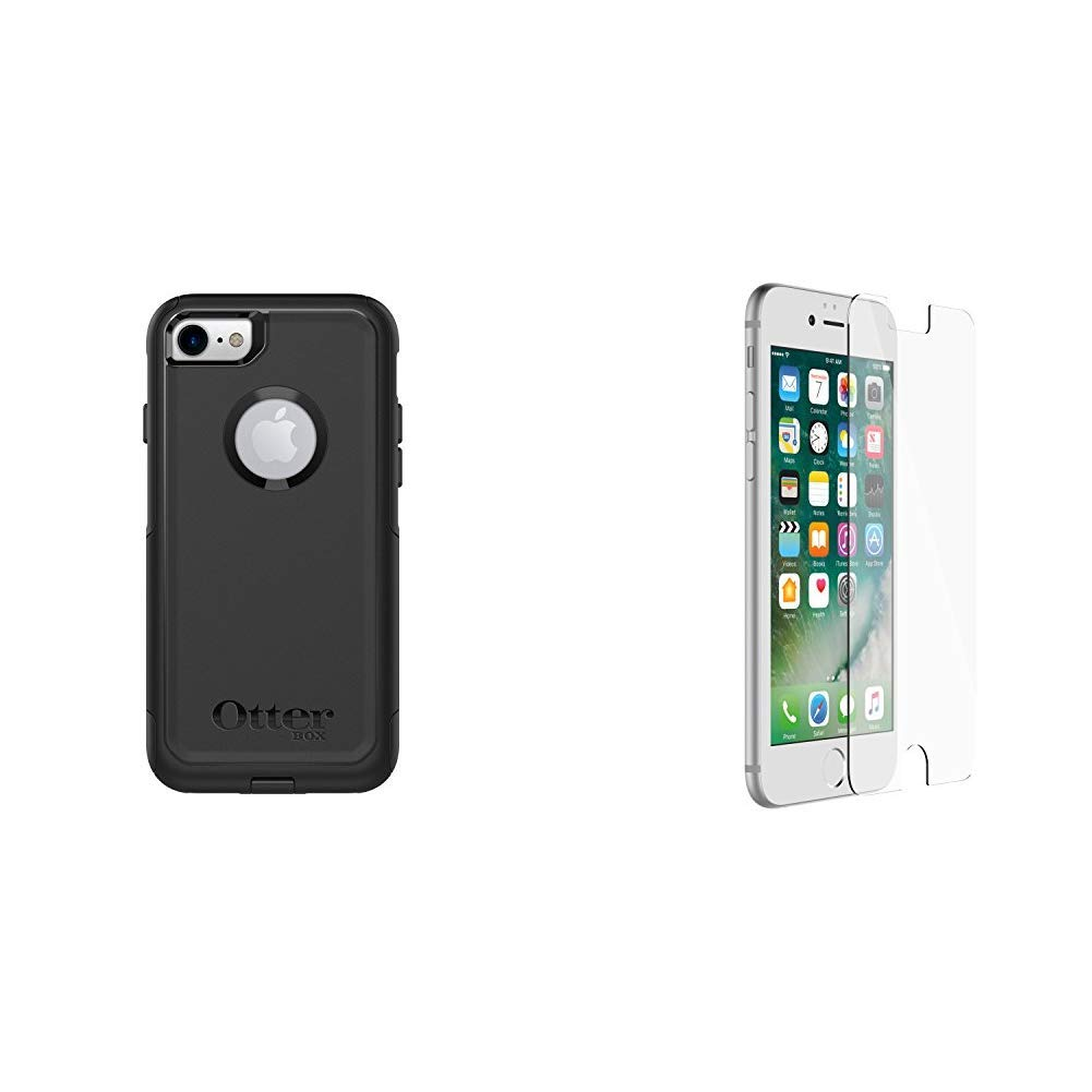 OtterBox COMMUTER SERIES Case for iPhone 8 & iPhone 7 (NOT Plus) - Retail Packaging - BLACK & ALPHA GLASS SERIES Screen Protector for iPhone 6/6s/7/8 (NOT Plus) - Retail Packaging - CLEAR by OtterBox