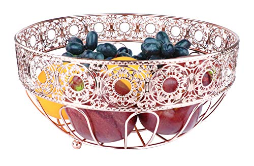 RosyLine Fruit Basket,home Fruit Basket,Decorative Display Stand, Multi purpose bowl, Home accent furnishings (Rose Gold)