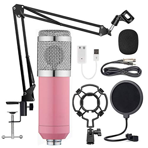 Puyong BM-800 Condenser Microphone Kit, Recording Kit with Adjustable Microphone Holder and Double-Layer Filter, Studio Microphone for Professional Recording Broadcasting Singing,Pink