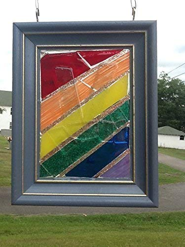 Stained Glass LGBT Peace Sign Window Art Sun Catcher Rainbow Pride