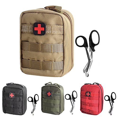 Tactical MOLLE EMT Pouch Medical Utility Bag 1000D Nylon with First Aid Patch and Shear (Tan2 with First Aid Patch)