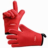 PASBUY P7089G A Pair Silicone Oven Mitts with Cotton Lining, Heat Resistant Kitchen Potholder Gloves for Oven, Outdoor BBQ Grill, Fireplace Camping (Red)