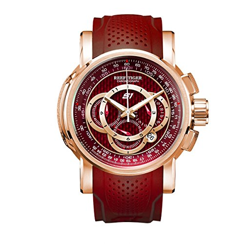 Reef Tiger Mens Chronograph Sport Rose Gold Red Dial Rubber Strap Quartz Watches - Dial Red Strap Rubber