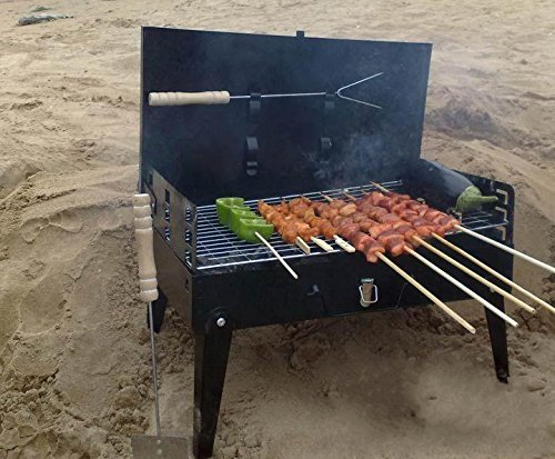 YAMEIJIA Folding Grill Outdoor Portable Household Charcoal Barbecue Kebab Camping Mini Grill Grilled Charcoal with Meat Fork & Shovel (Best Kebab House Number)
