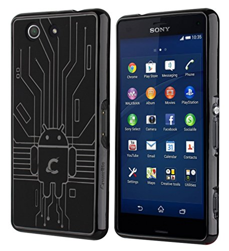 Cruzerlite Z3 Compact Case, Cruzerlite Bugdroid Circuit Case for Sony Xperia Z3 Compact - Retail Packaging - Black