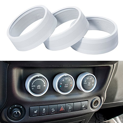 Danti 3pcs Audio Air Conditioning Button Cover Decoration Twist Switch Ring Trim for Jeep Wrangler JK JKU Compass Patriot 2011-2018 (White)