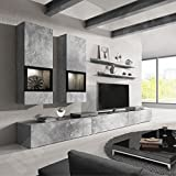 Duros Entertainment Center / Contemporary Design Wall Unit / With or Without Multicolor LED Lighting system (Concrete)