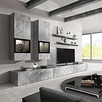 Baros Wall Unit Modern Entertainment Center Contemporary Design LED Lights High Capacity