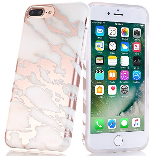 BAISRKE Shiny Rose Gold Milky White Marble Design Marble Design Bumper Matte TPU Soft Rubber Silicone Cover Phone Case Compatible with iPhone 7 Plus/iPhone 8 Plus [5.5 inch]