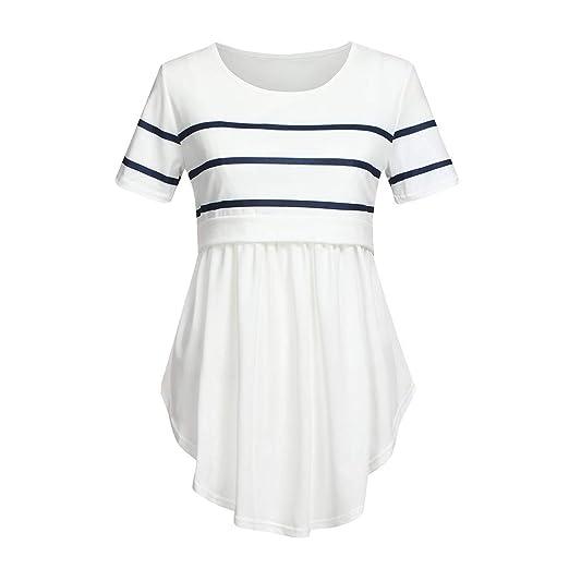 54b53b141771b Amazon.com: Toponly Nursing T Shirt for Women Mom Pregnant Baby Maternity  Short Sleeve Striped Blouse Clothes: Clothing