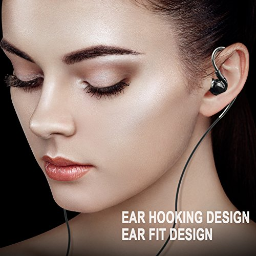 Wired Sport Earbuds in-Ear Headphones Noise Isolating Over Ear Earhook Kingyou Headphones Ergonomic Comfort-Fit for Workout Running Gym Sports Exercise KP05 Black