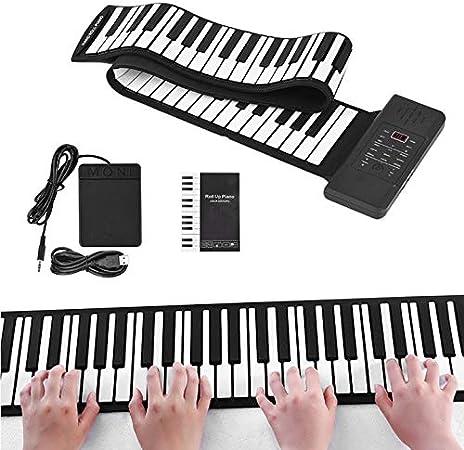 TTLIFE Piano enrollable portátil (88 teclas, negro, iones de litio), que incluye 128 tonos incorporados, 14 canciones de demostración, para ...