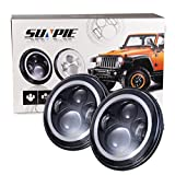 "7"" LED Headlights Bulb with White Halo Angel Eye Ring DRL & Amber Turn Signal Lights for Jeep Wrangler JK LJ CJ Hummer H1 H2"
