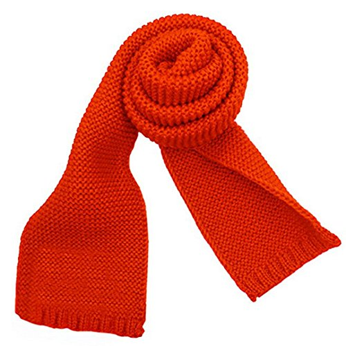 Sherry Toddlers Kids Knitted Scarf Fashion Solid Color Neck Warmer Winter Warm Scarves Wrap Shawl Orange
