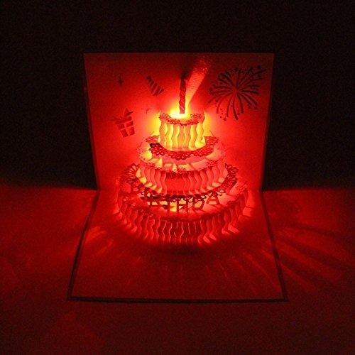 3D Pop Up Greeting Cards LED Light Happy Birthday Music Card Postcards (Birthday ()