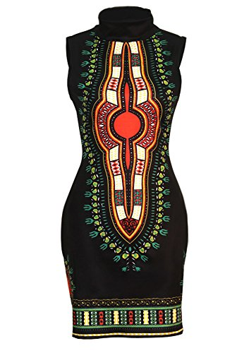 SheKiss Women Traditional African Print Dashiki Bodycon Sleeveless High Collar Dress Black ()