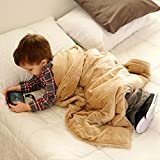 ZooVaa Weighted Blanket Compression Throw Quilt w/Glass Beads for Kids & Adults - 5lbs | 3 x 4ft | Minky Khaki Tan Beige