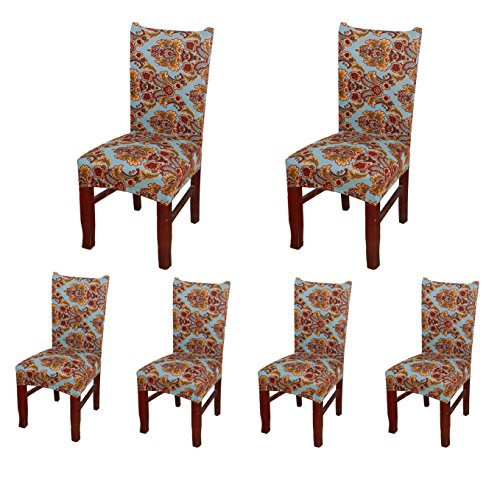 6 x Soulfeel Soft Spandex Fit Stretch Short Dining Room Chair Covers with Printed Pattern, Banquet Chair Seat Protector Slipcover for Home Party Hotel Wedding Ceremony (Style 19)