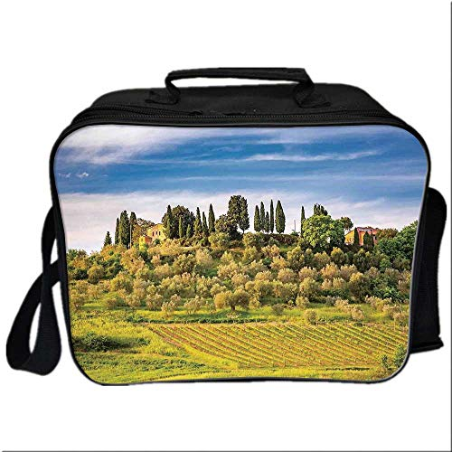 Tuscan Lunch Box Portable Bag,Green Field Tranquil Landscape Retro Stone Toscana Farmhouse Vineyard for Kids Boys Girls,10.6