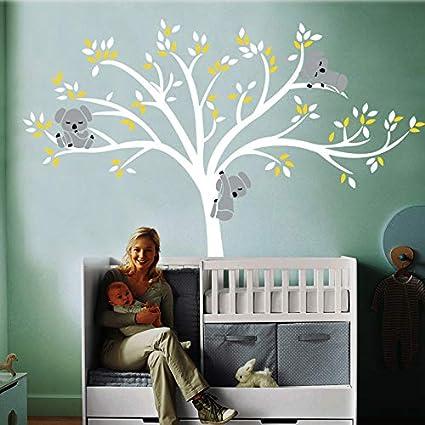 Mignon Koala Escalade Arbre de Bande Dessin/ée Vinyle Stickers Muraux Pour B/éb/é Enfants Chambres Home Decor Bricolage Papier Peint Art Stickers Maison D/écoration Rose