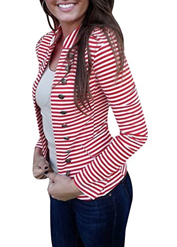 Yissang Women's Striped Decor Button Open Blazer Long Sleeve Red Medium by Yissang