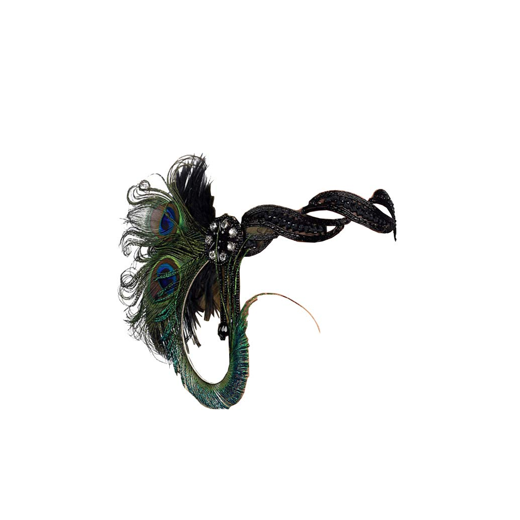 Art Deco 1920s Flapper Feather Headpiece Roaring 20s Great Gatsby Headband for Women