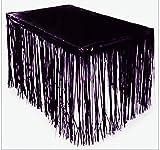 GIFTEXPRESS 2 Pack Black Metallic Foil Fringe Table Skirts, Tinsel Foil Table Skirt/Party Table Skirt for Graduation, Halloween (Black, 2-pack)