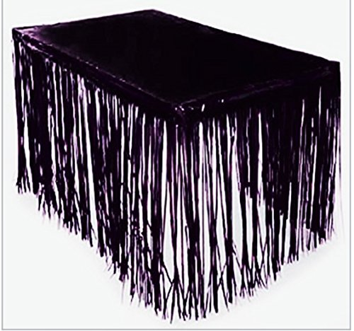 GIFTEXPRESS 2 Pack Black Metallic Foil Fringe Table Skirts, Tinsel Foil Table Skirt/Party Table Skirt for Graduation, Halloween (Black, 2-pack) by GiftExpress