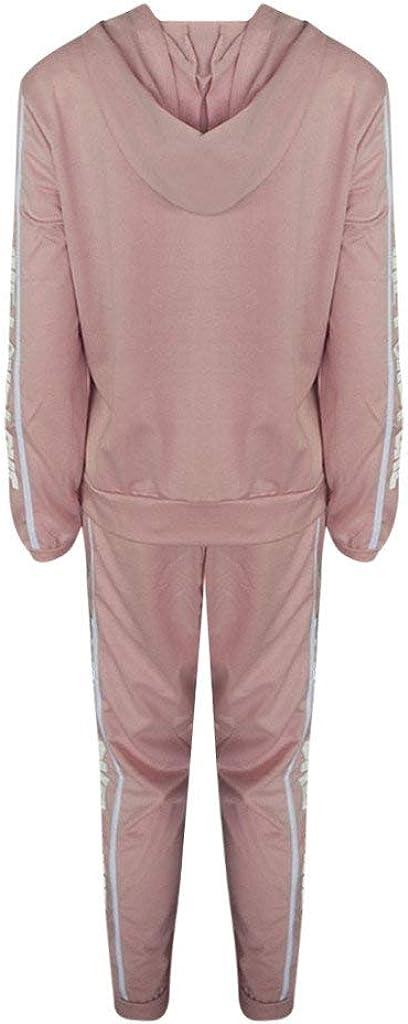 Damen Sportanz/üge Jogging Anzug Trainingsanzug Mode Streifen Zipper Langarm Kapuzenpullover Hoodie Sweatshirt Lange Hose Sportswear 2 Set
