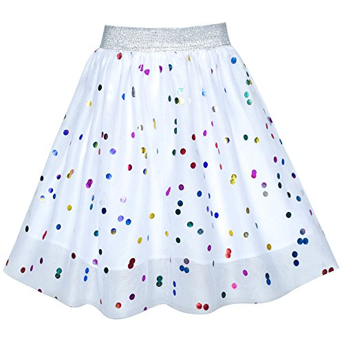 Girls Skirt Colorful Sequins Sparkling White Tutu Dancing Size 2-3 ()