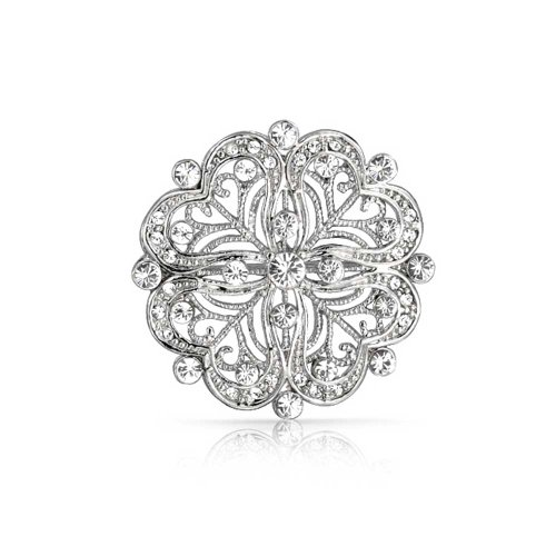 Bling Jewelry Vintage Antique Style Floral Heart Filigree CZ Brooch Pin for Women Silver Plated Brass
