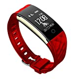 Pard Kids Fitness Tracker, Ultra Lightweight Heart Rate Fitness Tracker with Cycling Mode / Sleep Monitor / Pedometer for Android and iOS Smartphones, Red