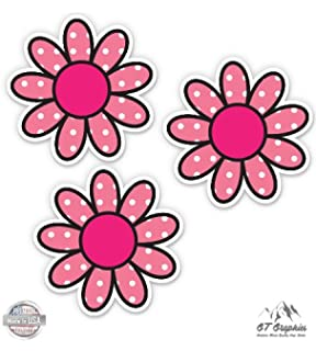 Amazon cute pink flower vinyl sticker waterproof decal pink polka dot daisies flowers simple hippie vinyl stickers waterproof decals mightylinksfo