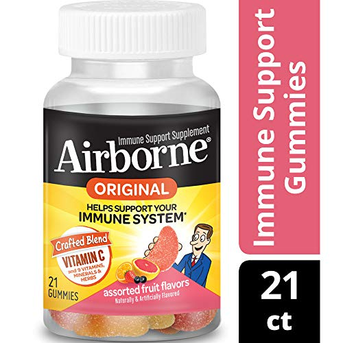 Airborne Kids Assorted Fruit Flavored Gummies-Immune Support Supplement With 1000 mg of Vitamin C, Vitamin E, Echinacea & Selenium, 21 Count