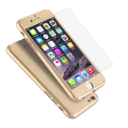 iPhone 6 Plus Case, Coocolor Ultra Thin Full Body Coverage Protection Hard Slim iPhone 6 Plus Case with Tempered Glass Screen Protector for Apple iPhone 6 Plus 5.5(Gold)