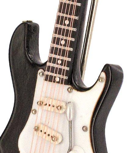 Anne Fuzeau Creation Guitarra eléctrica Miniatura Negra - de Madera barnizada - Objeto de decoración - Regalo música - Entregada en su cofrecito con Soporte ...