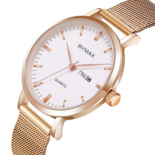 Bymax Women's Quartz Watches, Thin Fashion Analog Lady Dress Wrist Watch with Week Date Dial - Rose Gold