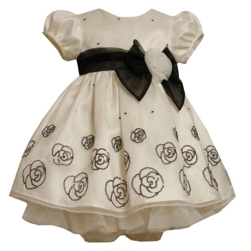 Bonnie Jean Baby/Infant 3M-24M 2-Piece IVORY BLACK SEQUIN ROSE ORGANZA OVERLAY Special Occasion Wedding Flower Girl Party Dress