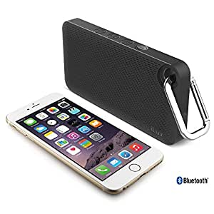 iLuv Aud Mini 6 (AUDMINI6) Slim Portable Weather-Resistant Bluetooth Speaker for iPhone, iPad, and other Smart Devices (Black Carabineer)