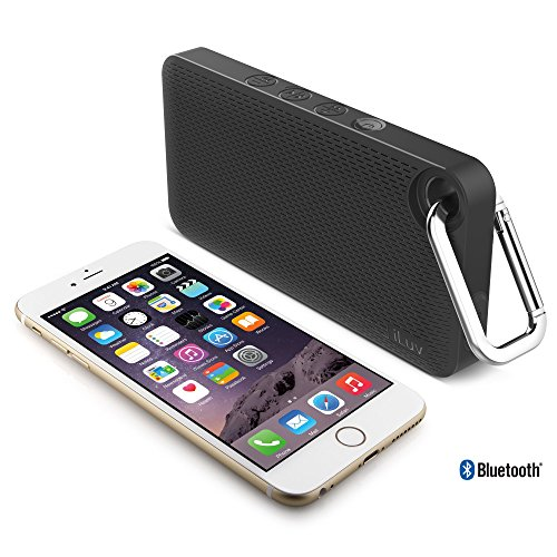 Systems Jwin Speaker (iLuv Aud Mini 6 (AUDMINI6) Slim Portable Weather-Resistant Bluetooth Speaker for iPhone, iPad, and other Smart Devices (Black Carabineer))