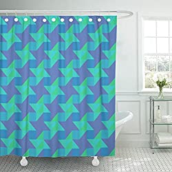 VaryHome Shower Curtain Blue Abstract Modern Colorful Triangular Trendy Endless Contemporary Geometric of Design Green Cool Waterproof Polyester Fabric 72 x 72 Inches Set with Hooks