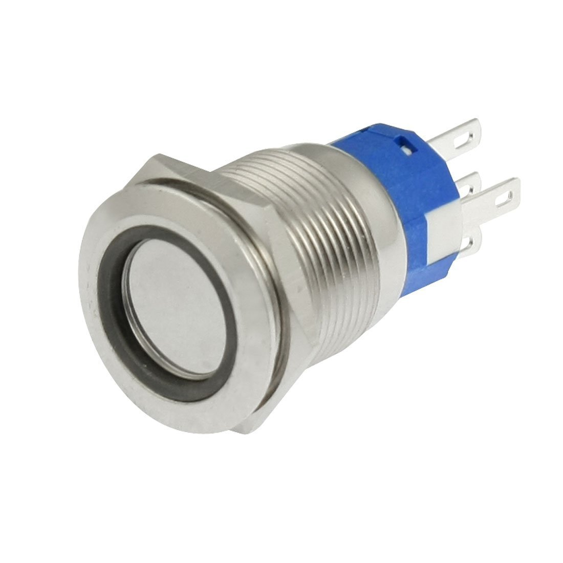 Baomain DC 24V Blue LED 19mm Stainless Steel Latching Push Button Switch