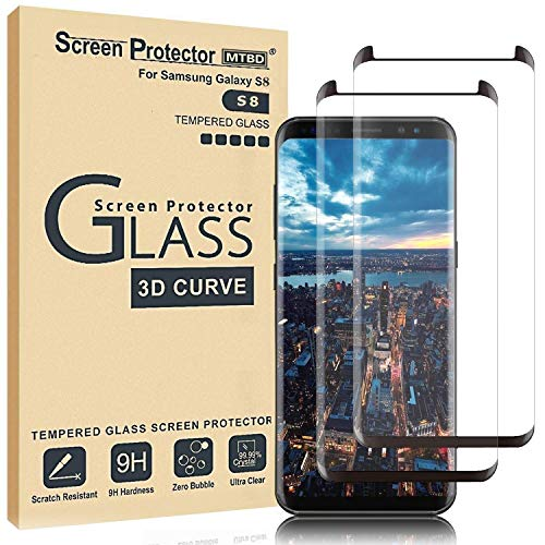 MTBD Galaxy S8 Screen Protector,Full Coverage Tempered Glass[2 Pack][3D Curved] [Anti-Scratch][High Definition] Tempered Glass Screen Protector Suitable for Galaxy S8 (NOT S8 Plus) (Best Alternative To Samsung Galaxy S8)