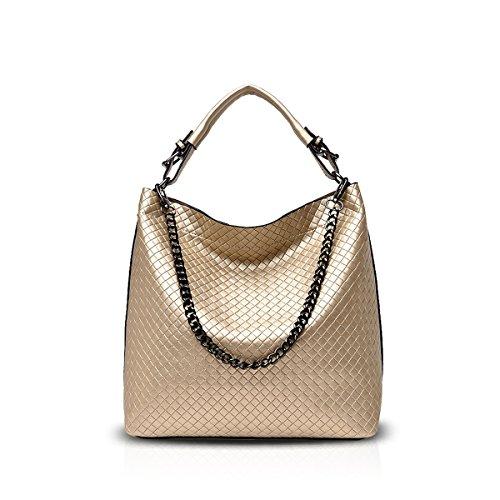 Nicole&Doris New Women Diamond Lattice Handbags Shoulder Bag Crossbody Chain Bag Satchel for Lady PU Leather Gold Gold