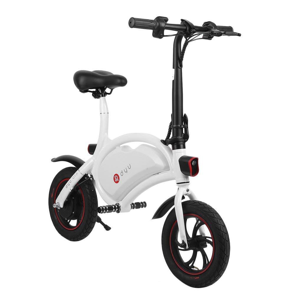 DYU Folding Electric Cycling Bike 12 Inch Mini Aluminum E-Bike 19 Mile Range E Bike